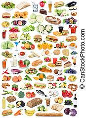 mad drink, samling, sund æde, frugter, grønsager, frugt, drinks, isoleret