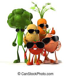 mad, grønsag, -, karakter