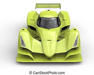 Mad green super sports racing car - top down front view