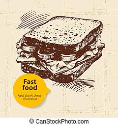 mad, hånd, faste, menu, konstruktion, baggrund., vinhøst, illustration., stram
