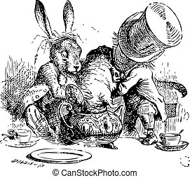 Mad Hatter and March Hare dunking the Dormouse. ...the last time she saw them, they were trying to put the Dormouse into the teapot. Alice's Adventures in Wonderland original vintage illustration. Illustration from John Tenniel, published in 1865.