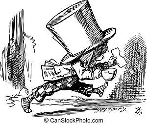 Mad Hatter just as hastily leaves - Alice's adventures in Wonder