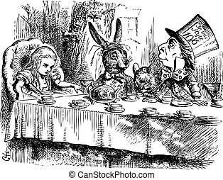 Mad Hatter?s Tea Party, Alice in Wonderland original vintage engraving. Tea party with the Mad Hatter, Dormouse and the White Rabbit. Alice's Adventures in Wonderland. Illustration from John Tenniel, published in 1865.