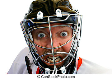 Mad Hockey Goalie - This is a face close-up of a mad hockey...