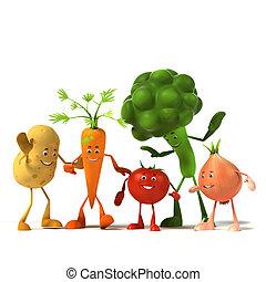 mad, karakter, -, grønsag