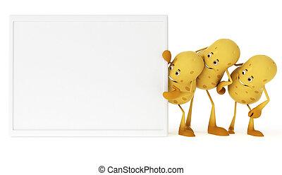 mad, karakter, -, kartofler