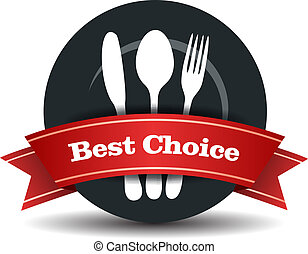 mad, kvalitet, emblem, restaurant