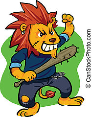 Angry lion, bad lion with his bat. Vector EPS8 file.