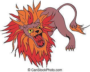 Mad lion - Crazy gnarling lion with large motley mane....