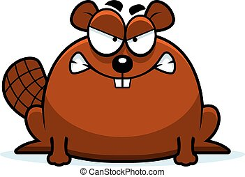 Mad Little Beaver - A cartoon illustration of a beaver...
