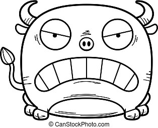 Mad Little Bull - A cartoon illustration of a little bull...