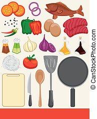 mad, madlavning, elementer, illustration