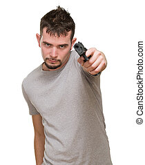 mad man pointing with gun