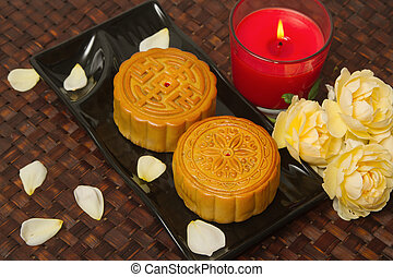 mad, mid-autumn, måne, kage, festival, kinesisk