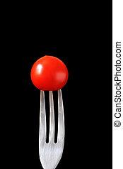 mad, på, fondue, gaffel, series:, tomat