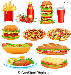 mad, pitsey, faste, sæt, ketchup