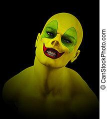 Mad Psycho Clown - Close up of a mad Psycho clown.