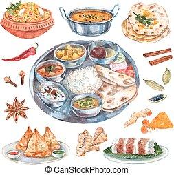mad, restaurant, indisk, komposition, ingredienser