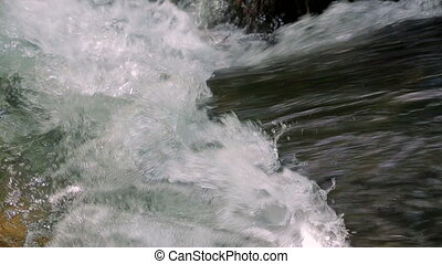 Mad River Torrent Flowing. Sound. Close-up. - Close-up...