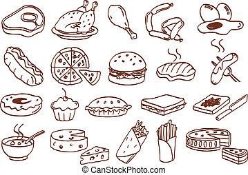 mad, sæt, ikon