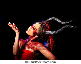 Mad satan woman aggressive cry in hell . Witch reincarnation...