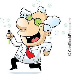 Mad Scientist - A happy cartoon mad scientist running and...