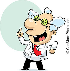 A happy cartoon mad scientist standing and smiling.