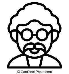 Mad scientist avatar icon, Halloween costume vector illustration