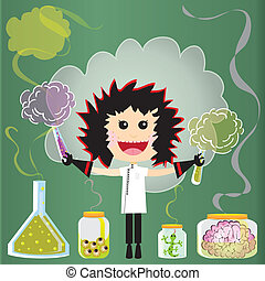 Puffs of smoke and fumes leak from test tubes, beakers and jars of eyeballs, lizards and a pink brains against a green chalkboard.