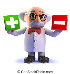 Rendered image in 3d of a mad scientist cartoon character in 3d holding a plus and minus symbol