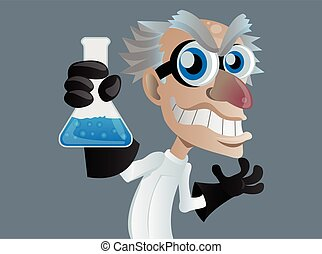 mad scientist cartoon vector character