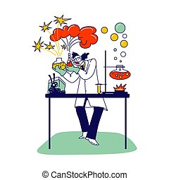 Mad Scientist Character with Glass Flasks and Beakers ...
