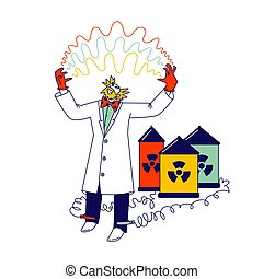 Mad Scientist Connect Wires of Batteries with Radiation Toxic Signs to Legs Has Electricity Discharge between Hands. Crazy Character Conducting Experiments in Laboratory. Linear Vector Illustration