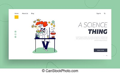 Mad Scientist Landing Page Template. Character with Beakers ...