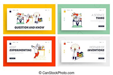 Mad Scientist Landing Page Template Set. Crazy Chemist Characters Conduct Experiments in Scientific Laboratory Mix Liquids in Flasks, Grow Virus and Use Electricity. Linear People Vector Illustration