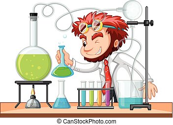 Mad scientist mixes chemical in lab