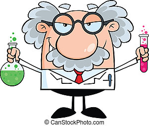 Mad Scientist Or Professor Holding A Bottle And Flask With Fluids