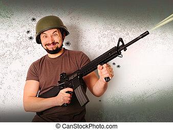 Mad shooting man