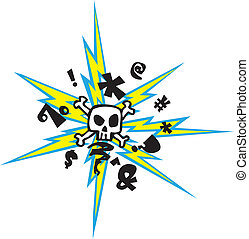 A crazy skull with lightening bolts thing... Vector file.