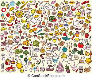 mad, stor, samling, køkken