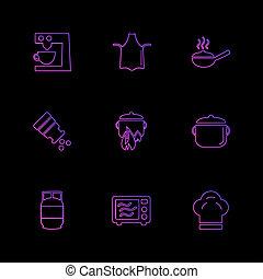mad, sundhed, sunde, maden, drinks, eps, iconerne, sæt, vektor