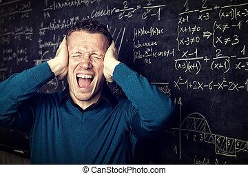 mad teacher - stressed teacher portrait and blackboard...