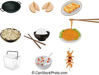 mad, vektor, kinesisk, illustration