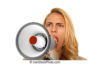 Mad Woman Screaming into Megaphone on White