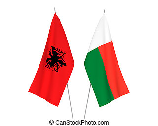 Madagascar and Albania flags - National fabric flags of ...