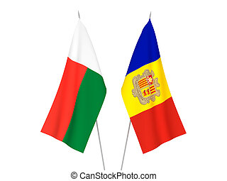 Madagascar and Andorra flags - National fabric flags of ...