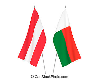 Madagascar and Austria flags - National fabric flags of ...