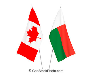 Madagascar and Canada flags - National fabric flags of ...