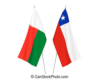 Madagascar and Chile flags - National fabric flags of ...