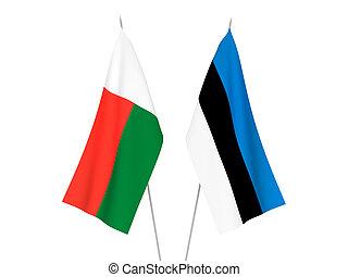 Madagascar and Estonia flags - National fabric flags of ...